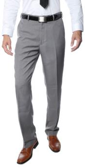 Buy RM1123 Mens Premium Quality Regular Fit Formal & Business Flat Front Dress Pants Grey