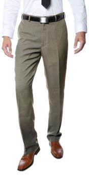 Mens Tan Classic Regular Fit Business Flat Front Dress Pants
