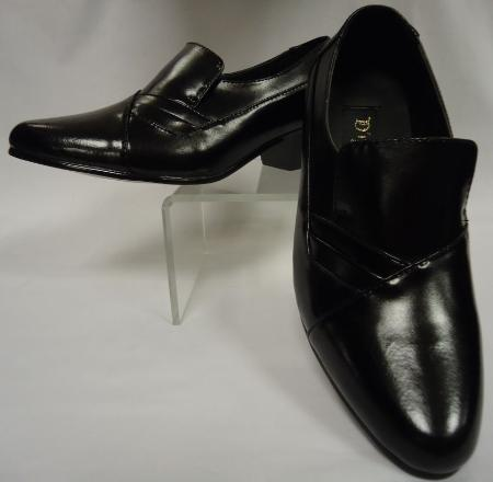 SKU#MBL0991 Mens Rich Black Leather Fancy Cuban Heel Slip On ~ Loafer Shoes