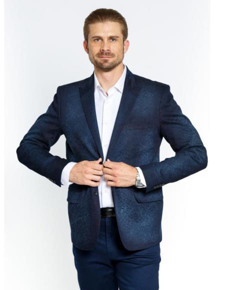 Buy SM3832 alberto Nardoni Brand Men's Peak Collar Single Button Royal Blue Antique Denim Blazer