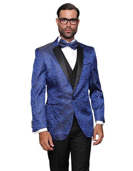 Alberto Nardoni Brand Men's Floral Unique Paisley  Shiny Flashy Satin Stage Stage Party Two Toned Blazer / Sport coat Royal Blue