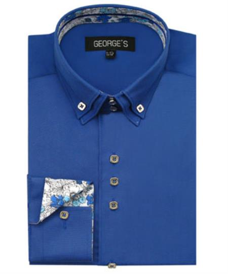 Mens Royal Blue 60% Cotton 40% POLY Shirt Double Collar Design Sleeves Solid Color