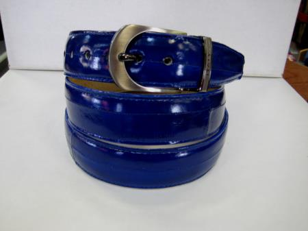 Buy KP6C Mens Genuine Authentic Royal Blue Eel Belt