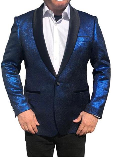 Men's Royal Blue One Button Black Shawl Lapel  Jacket