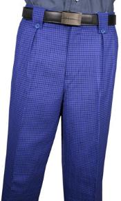 Men's VeronesiClassic Fit Pleated Front Royal Blue Plaid Wool Wide Leg Dress Slacks Men's Wide Leg Trousers