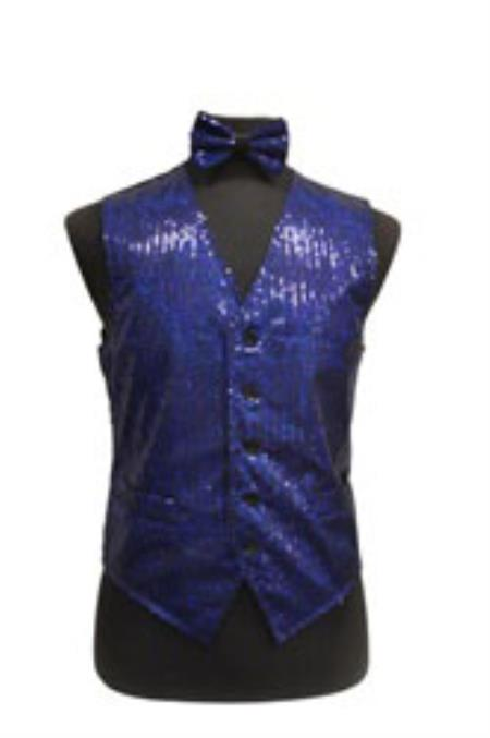Sparkly Bow Tie Satin Shiny Sequin Dress Tuxedo Wedding Vest/bow tie set Royal Blue