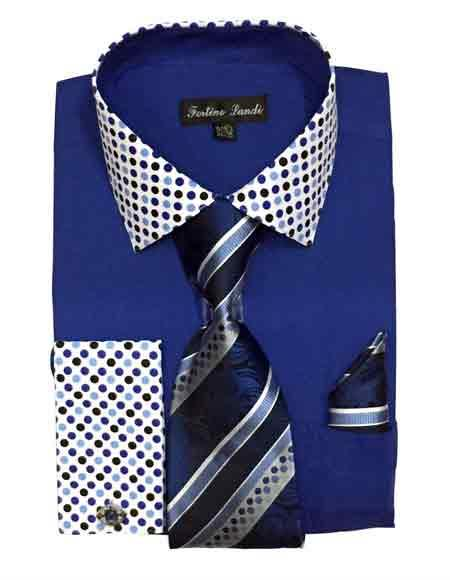 Solid/Polka Dot Pattern Cotten Blend Royal Blue Shirt With Tie & Hanky Mens Dress Shirt