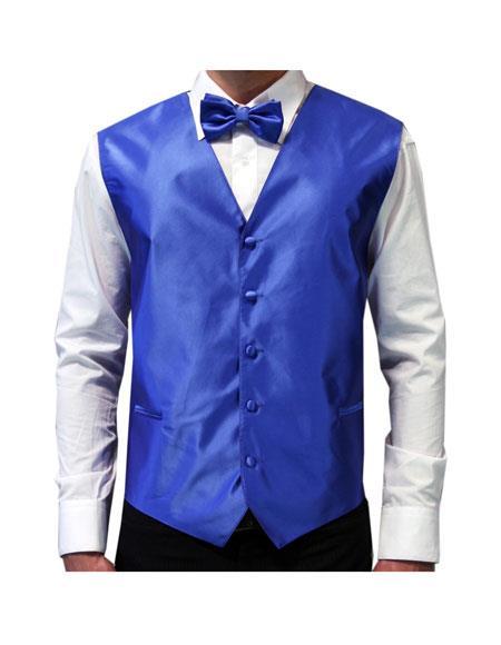 Mens White Shirt & Royal Blue Tuxedo Vest & Bowtie Set + Any Color Pants