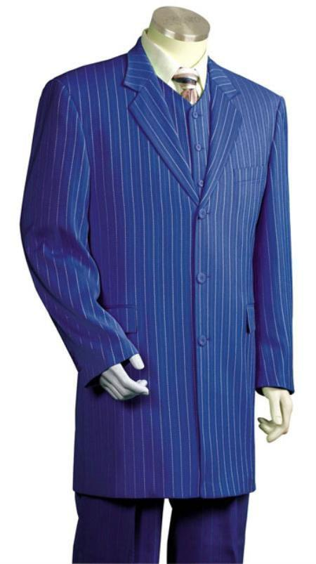 WTX-Zoot200 Mens Royal Blue and Bold White Stripe Gangster Zoot Dress Suits for Men Vested 3 Piece S