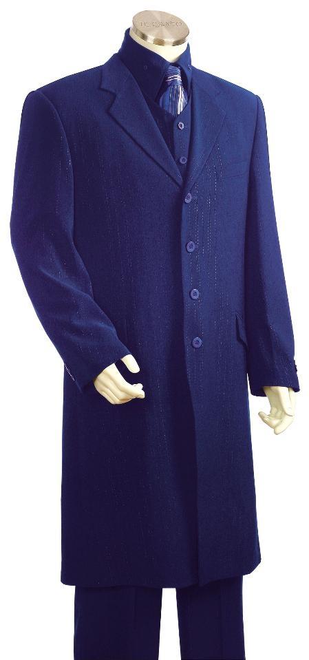 Men's 3 piece With Vest Long Jacket Zoot Suit Royal Blue