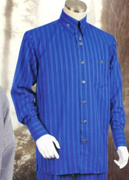 SKU#BT284 Mens Royal Long Sleeve 2pc Set including Matching Wide Leg Dress Pants