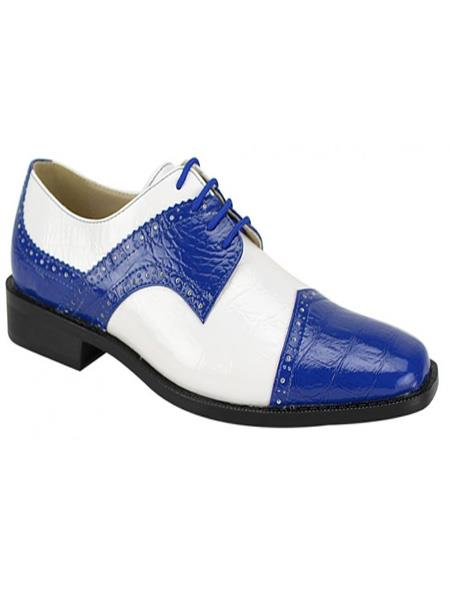 Buy JS354 Men's Fashion Two Toned Royal/White Dress Shoe