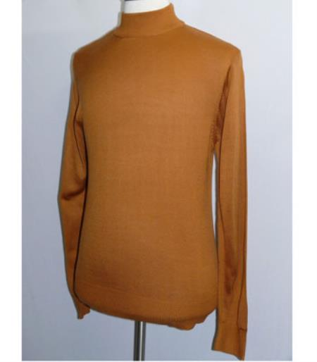 Buy SS-114 Mens Rust INSERCH Mock Neck Pullover Knit Sweater High Collar Casual Dress