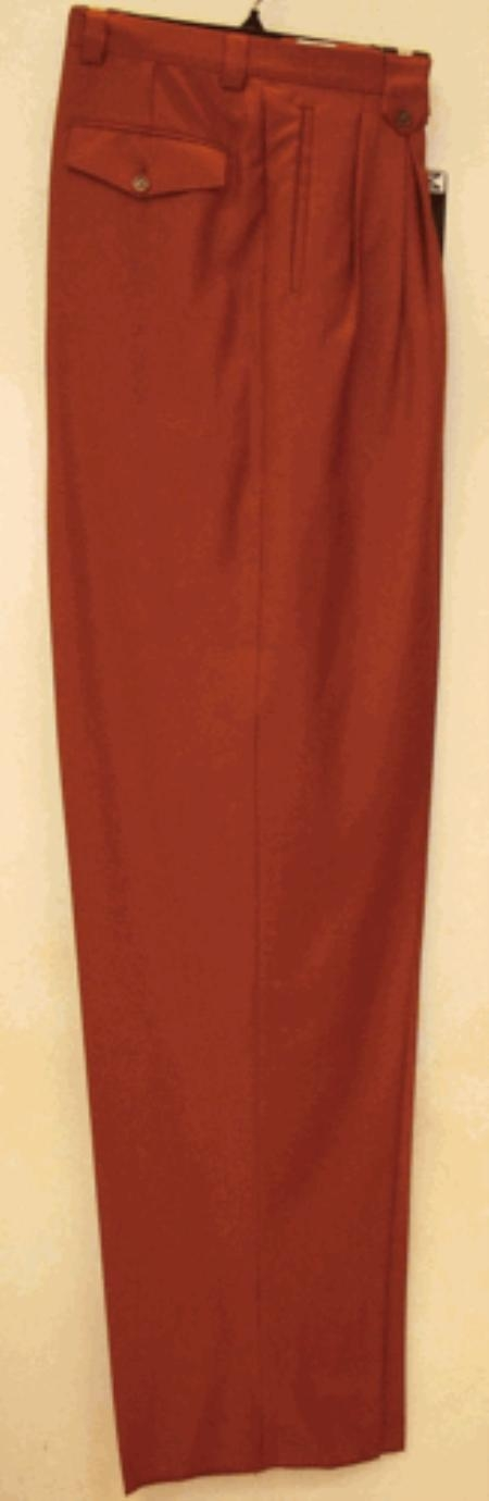 long rise big leg slacks  Rust Wide Leg Dress Pants Pleated baggy dress trousers unhemmed unfinished bottom