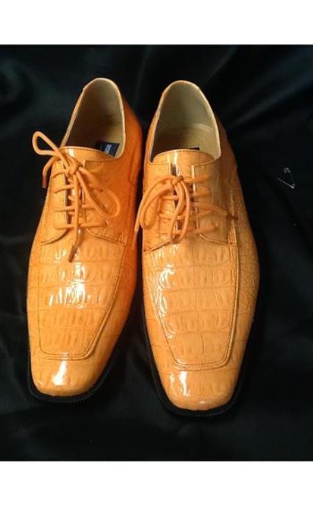 Mens Peach Orange Mango Rust Copper Exotic Skin A