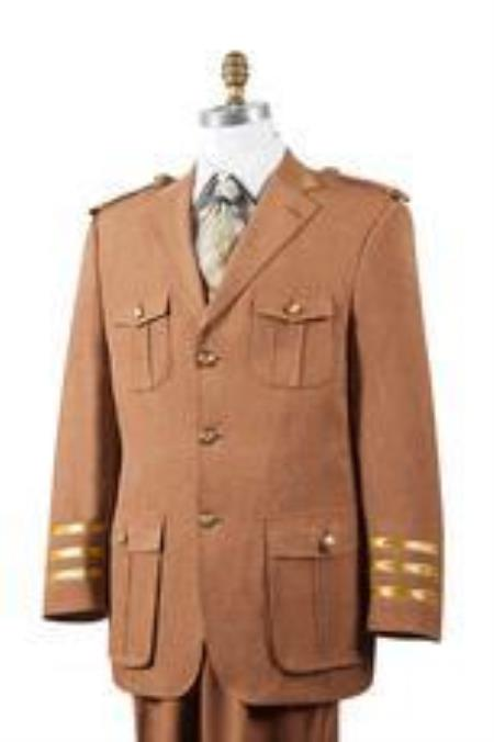 Safari Mens Rust Nailshead Military Pocket Cheap Priced Business Suits Clearance Sale