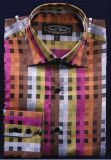 Men's High Collar Club Rust Fancy Square Pattern Shirt Night Club Outfit guys Wear For Men Clothing Fashion