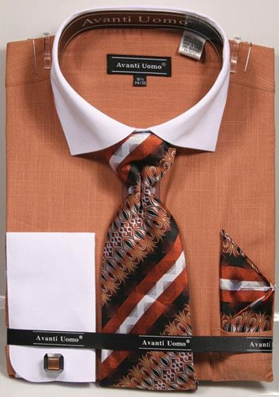 Men's Textured Pattern French Cuff 100% Cotton Fashion Rust Shirt with Tie & Hanky Set