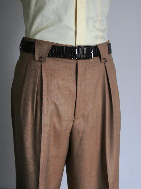Leonardo Velenti Brand Men's Wide Leg Rust Pants unhemmed unfinished bottom