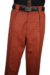 Mens Veronesi Rust Plaid Wool Wide Leg Dress Slacks