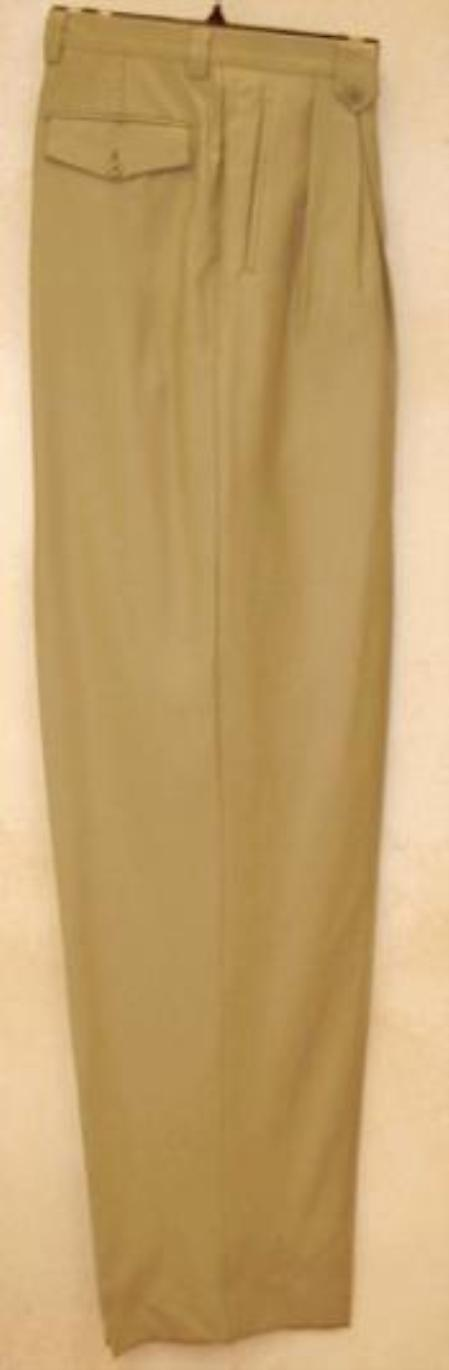 long rise big leg slacks  greenish color with some hint of gray Taupe Wide Leg Dress Pants Pleated baggy dress trousers unhemmed unfinished bottom