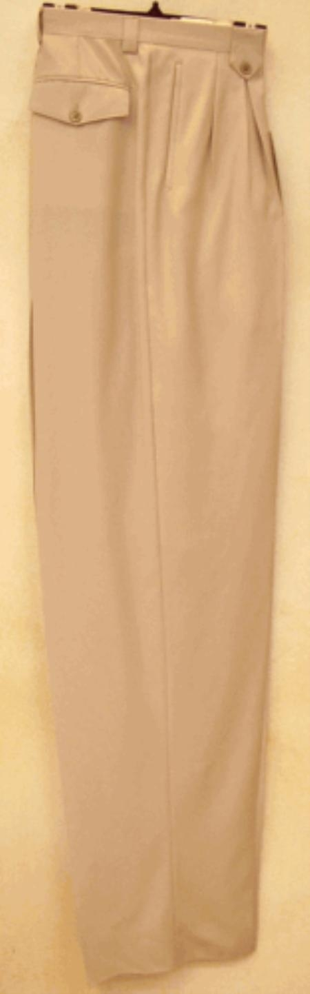 SKU#SN831 long rise big leg slacks Sand Wide Leg Dress Pants Pleated baggy dress trousers