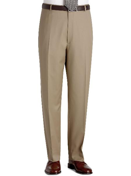 Flat Front Regular Rise Slacks Sand