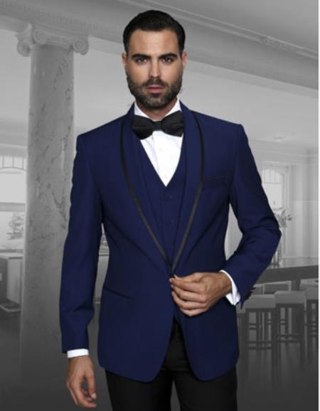 Mens Black Trim Lapel Two toned Sapphire Fashion Tux by Statement Suits Clothing Confidence