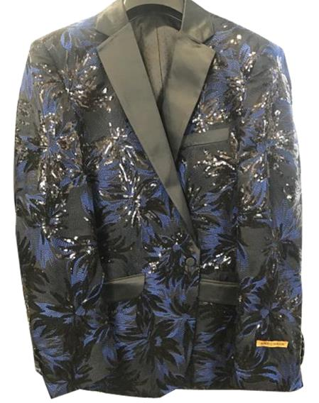 Alberto Nardoni Men's Navy ~ Black ~ Blue Tuxedo Shiny Floral ~ paisley ~ Sequin Blazer ~ Dinner Jakcet ~ Sport Coat