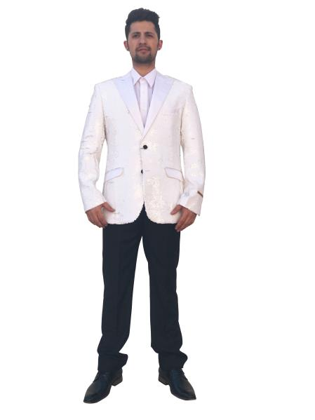 Mens Shiny 2 Button White Single Breasted Blazer