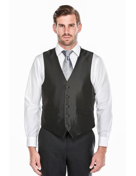 Mens Shark-Skin 5 Button Single Breasted Classic Fit Black Vest