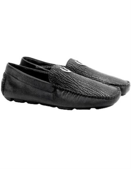 Men's Black Vestigium Genuine Sharkskin Stylish Dress Loafer Full Leather Lining