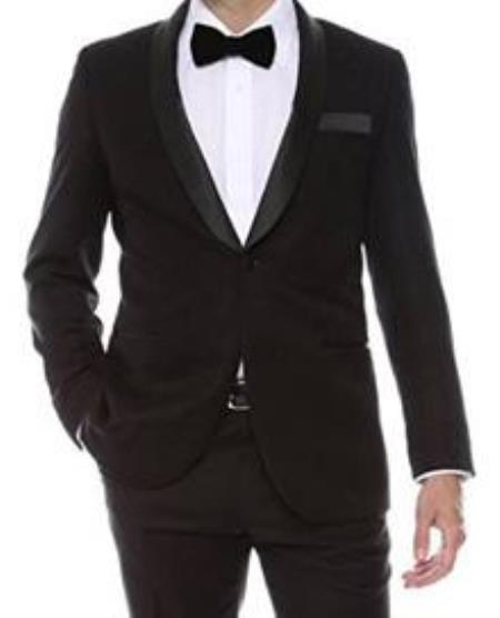 Black Shiny Mens 2 Buttons Slim Fit Tuxedo Dinner Jacket~ Stage Fancy Sport Coat Blazer