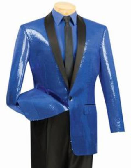 Shiny Flashy Sharkskin Metallic Sapphire Blue Sequin Formal Royal Color Tuxedo Shawl Lapel Sportcoat Jacket
