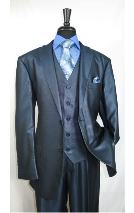 Mens Shiny Shark skin Flashy Satin Looking Metallic looking Vested 3 Piece Blue Suit