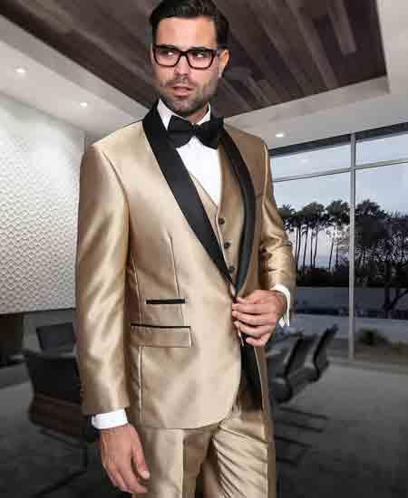 Mens Gold ~ Champagne And Black Lapel 3 Piece Shiny Tuxedo Shawl Lapel Vested Suit