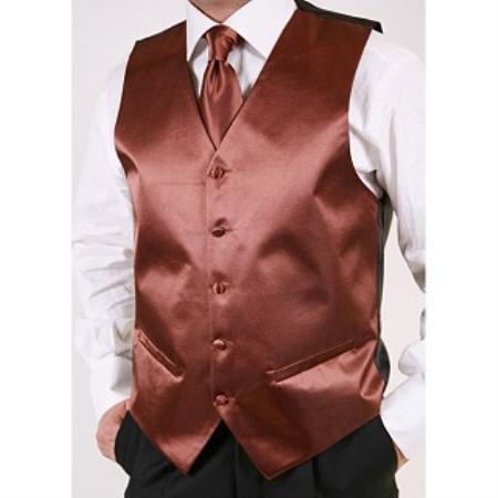Brown 2-piece Vest Set