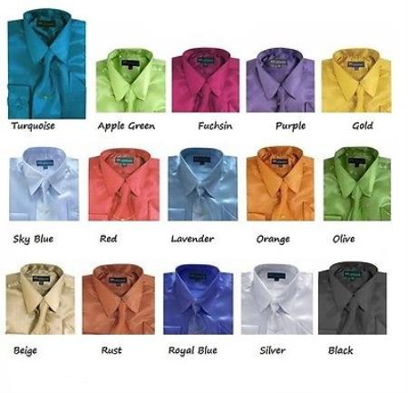 Classic Satin Set w/ tie And Handkerchief Multi-color Men's Dress Shirt