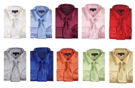 Fashion Shiny Satin Dress Shirt Set w/ Tie And Handkerchief Multi-color Men's Dress Shirt