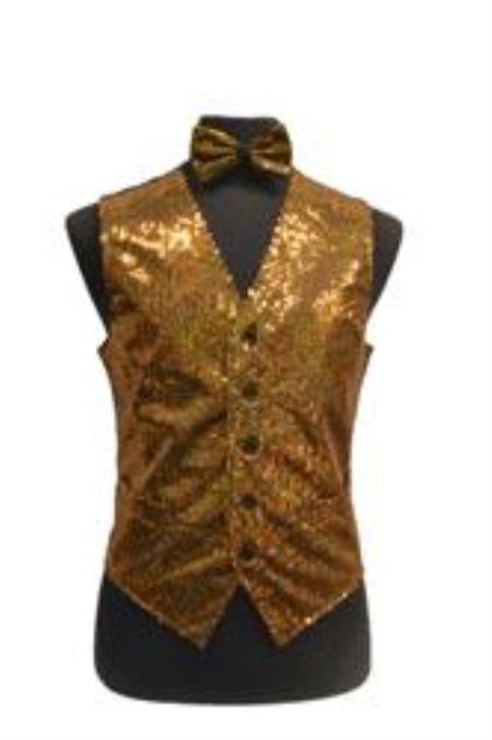 Sparkly Bow Tie Satin Shiny Sequin Dress Tuxedo Wedding Vest/bow tie set Gold