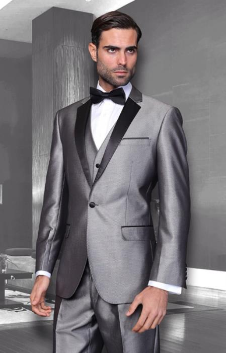 Mens Unique Bright Tuxedo Suits Vested 3 Pieces black lapel Shiny Flashy Sharskin Silver Grey ~ Gray Available with Shawl Lapel