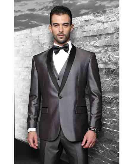Mens 3 Piece Vested Statement Suits Clothing Confidence Wynn Shawl Lapel Tuxedo Shiny Gray Modern Fit