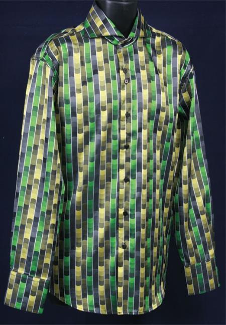 Mens Green Shiny flashy Satin Luxurious Shirt