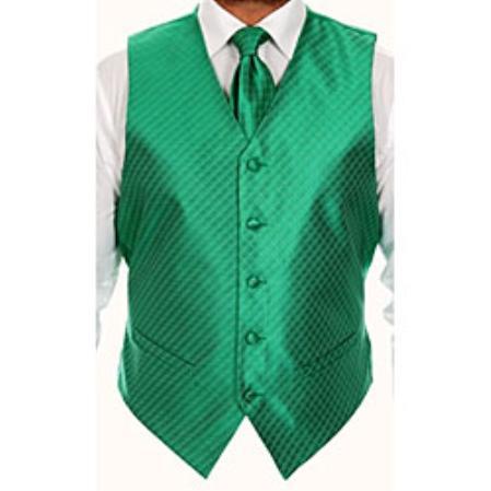 Mens Four-piece Green Vest ~ Waistcoat ~ Waist coat Set Buy 10 of same color Tie For $25 Each