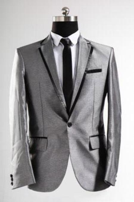 Mens Shiny Sharkskin Silver Grey Gray With Black Trim Tuxedo Suits