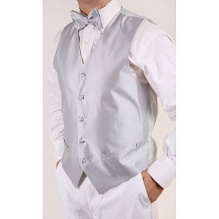 Men's Grey 4-piece Dress Tuxedo Wedding Vest ~ Waistcoat ~ Waist coat Set Buy 10 of same color Tie For $25 Each