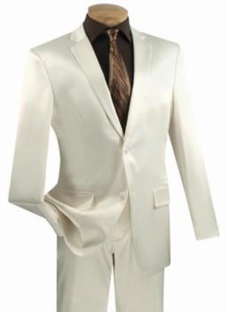 Shiny Sharkskin Metallic 2 Button Suits Off-White