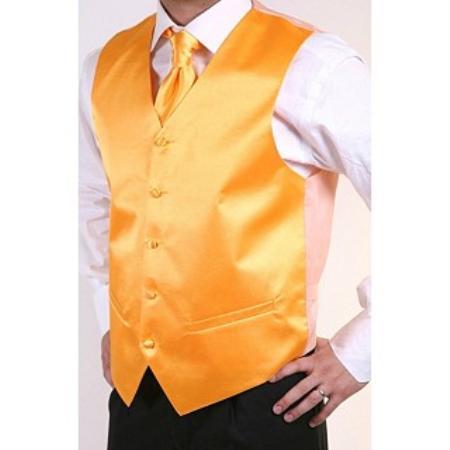 Mens Orange 2-piece Dress Tuxedo Wedding Vest ~ Waistcoat ~ Waist coat Set Buy 10 of same color Tie For $25 Each
