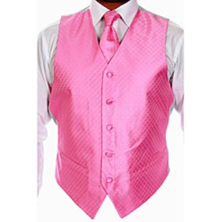 Mens Four-piece Pink Dress Tuxedo Wedding Vest ~ Waistcoat ~ Waist coat Set Buy 10 of same color Tie For $25 Each