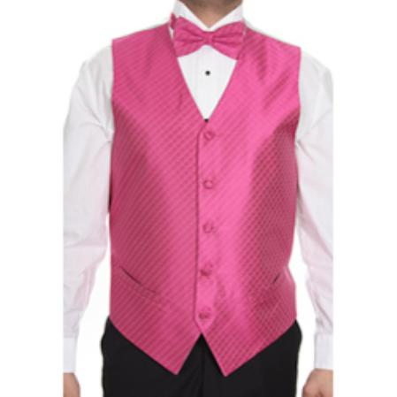 Men's Fuchsia ~ fuschia ~ hot Pink Tuxedo Patterned 4-piece Dress Tuxedo Wedding Vest ~ Waistcoat ~ Waist coat Set Buy 10 of same color Tie For $25 Each